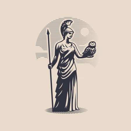 Goddess Athena or Minerva. Woman in a tunic and helmet. A spear in one hand, an owl in the other.