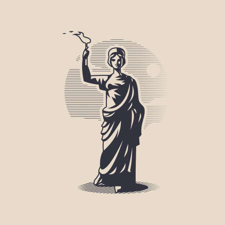 Goddess Hestia or Vesta. Woman in a tunic with a torch in her hand.