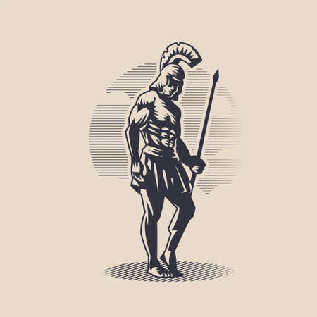 God Ares or Mars. A man in a helmet with a spear in his hand. Vettoriali