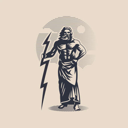 God Zeus or Jupiter. A man with a beard in a tunic. Lightning in hand.