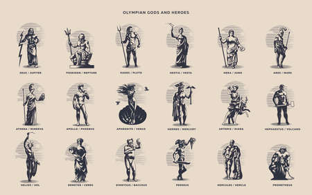 Greek and Roman gods. Zeus, Poseidon, Hades, Artemis, Ares, Venus.