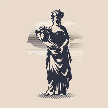 Goddess Demeter or Ceres. Woman in tunic and wreath. In the hands of a bouquet of harvest