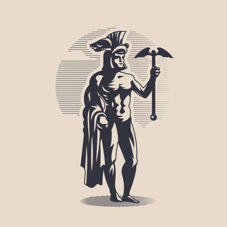 God Hermes. A man in a helmet with wings holds a caduceus in his hand. Illusztráció