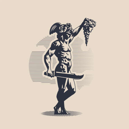 God Perseus. A man in a helmet with wings. In one hand the head of Medusa Gorogona in the other hand a sword. 矢量图像