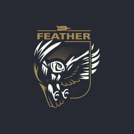 The owl flaps its wings and flies. Stylized vector illustration.