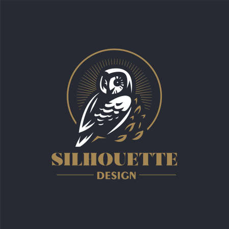 The owl sits on a branch and turns its head. Stylized vector illustration. 向量圖像