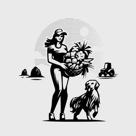 Woman with a basket of vegetables and fruits, a haystack, a tractor. A dog is running nearby. Vettoriali