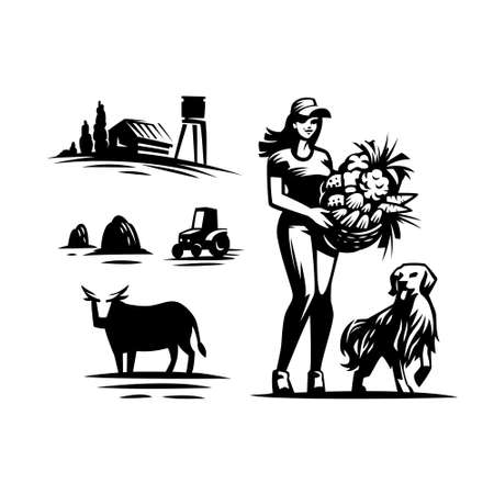 Set of vector illustrations on a rustic harvest theme. Village, woman with a basket of vegetables and fruits, cow, haystack, tractor.
