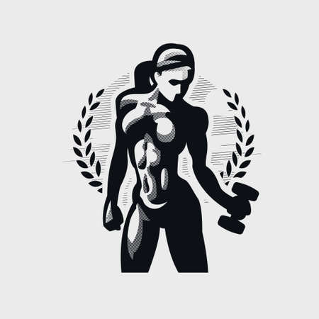 Fitness woman in sportswear looks down and holds a dumbbell in her hand. Vector silhouette.