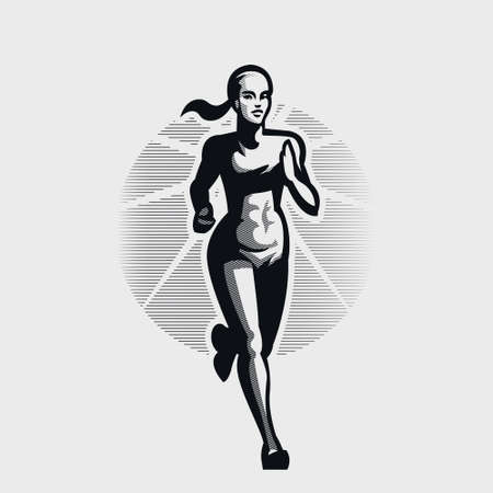 A young woman with a beautiful athletic figure is running.