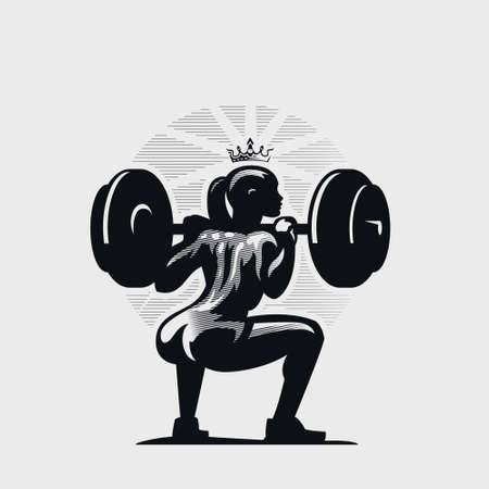 Athletic fitness woman doing squat with a barbell on her shoulders. She has a crown on her head. Иллюстрация