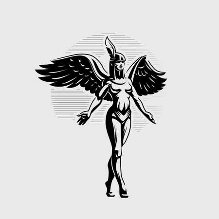 A woman angel with wings and a feather on her head, walking spreading her arms to the sides.