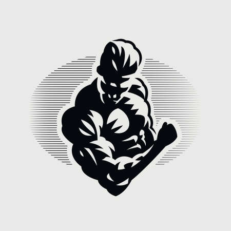 Muscular man bends his arm at the elbow and squeezes his biceps. Vector silhouette.
