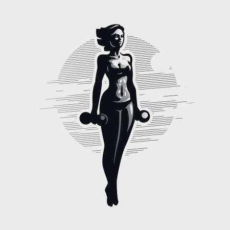 Fitness woman in sportswear holds a dumbbell in her hand. Vector silhouette. Иллюстрация