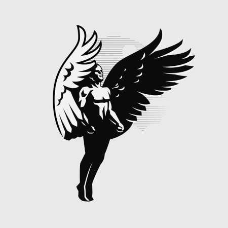 A male angel flaps large wings, soaring up Иллюстрация