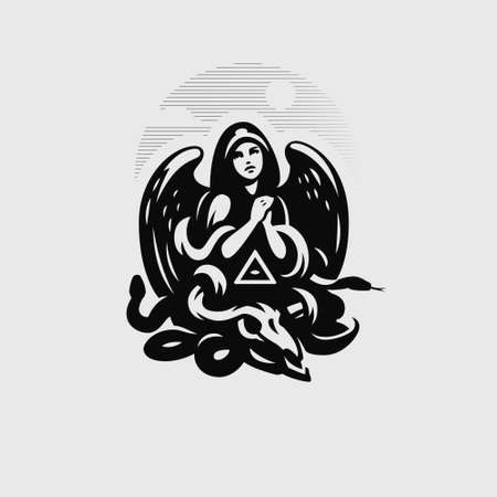 Woman angel in a hood and with wings prays. Below her is the skull of a horned animal, a snake and an all-seeing eye in a triangle. Ilustração