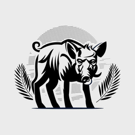 An adult wild boar with large tusks. Hog. Vector illustration. Stock Illustratie