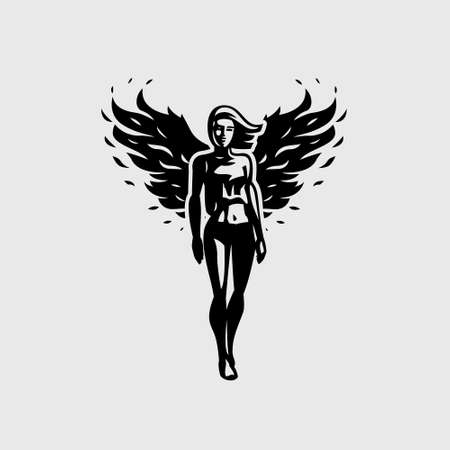 Angel woman, athletic build, in a short T-shirt and tight leggings, flaps her wings and steps forward. Fitness woman with fiery wings.