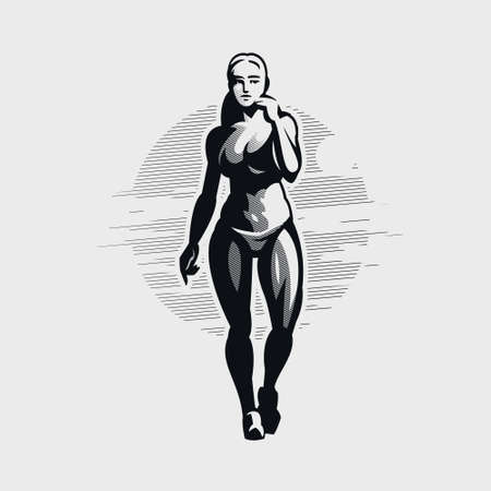 Fitness woman in sportswear and sneakers goes. Vector silhouette. Stock Illustratie