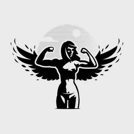 Angel woman with wings bends her arms at the elbow, showing biceps.