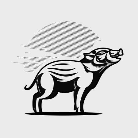 A young wild boar with small fangs. Hog. Piglet. Vector illustration.