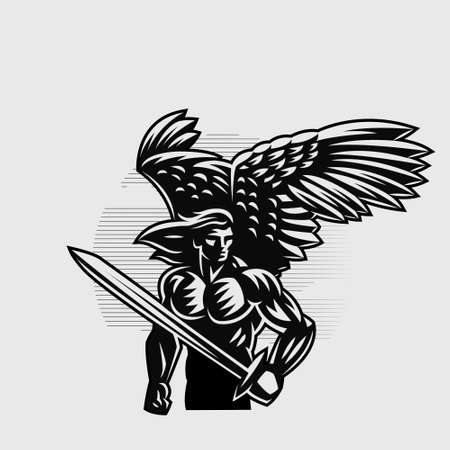 Muscular Angel Man with wings and long hair and holding a sword.