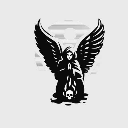 A woman angel with wings in a hood prays, bringing her palms together, over a burning skull.