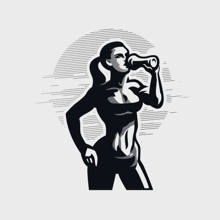Fitness woman in sportswear holds a sports bottle in her hand and drinks. Vector silhouette. Stock Illustratie