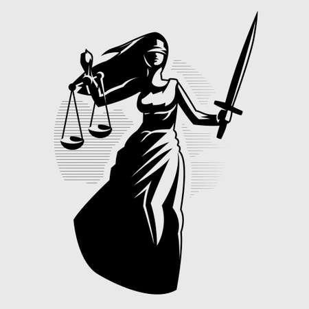 Goddess of Justice Themis. A woman in a tunic blindfolded with a sword in one hand and scales in the other. Vector silhouette