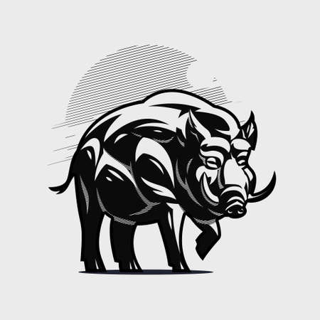 A large adult boar or hog stands with its paw raised. Silhouette, stylized illustration.