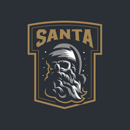 Human skull with a beard wearing a Santa Claus hat. Vintage vector logo. Stock Illustratie