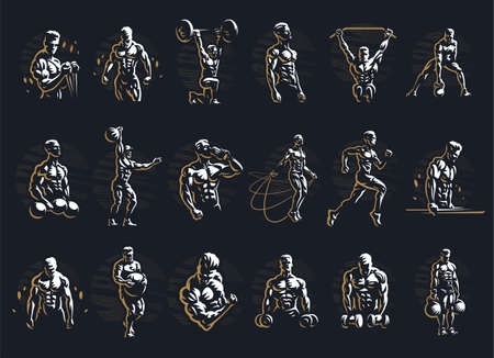 Male fitness collection. Various poses and sports. Dumbbells, kettlebells, parallel bars, jump rope, running. Muscular men.