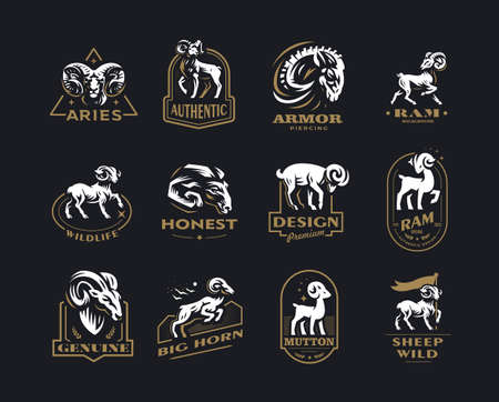 Collection of wild and domestic sheep. A ram, a sheep in various poses and a portrait. Vintage vector emblems. Stock Illustratie