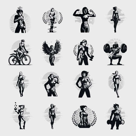Women's fitness collection. Various poses and sports. Dumbbells, kettlebells, barbell, running, bike. Women with a beautiful athletic figure.