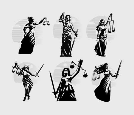 Collection of Goddess of Justice Themis. A woman in a tunic blindfolded with a sword in one hand and scales in the other. Vector silhouette illustration