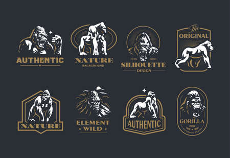 Collection of vintage vector emblems with the image of a gorilla and a monkey in different poses and portrait. Stock Illustratie