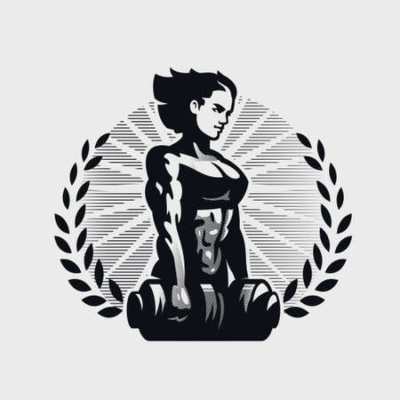 Muscular woman looks forward and holds two dumbbells. Vector emblem. Stock Illustratie