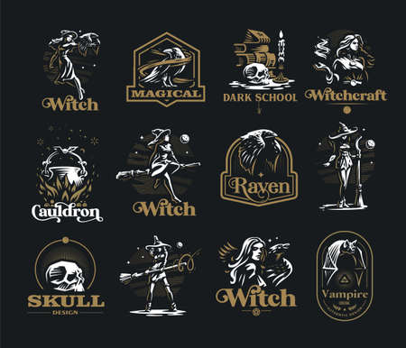 Collection of vintage emblems on the occult theme. Witchcraft, witches, bat, raven, broom, moon, skull, spell book, candle, cauldron