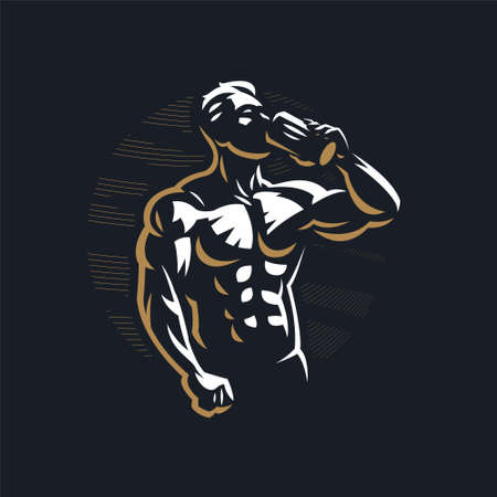 Fitness man with muscles with a sports bottle, drinks. Vector illustration. Stock Illustratie