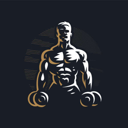 Fitness man with muscles trains. Raises the barbell. Barbell. Vector illustration.
