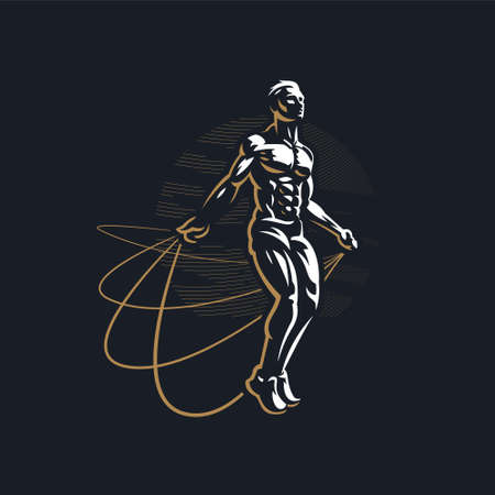 Fitness man with muscles trains. Jumping rope. Vector illustration. Stock Illustratie