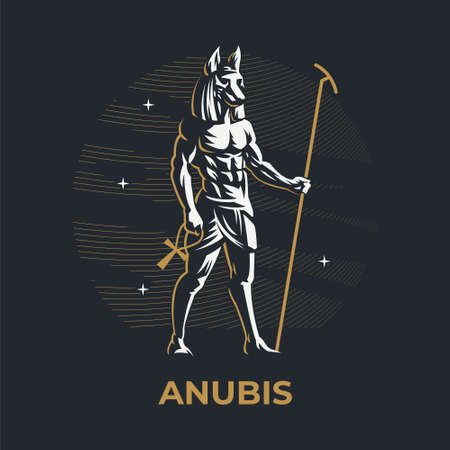 Egyptian god Anubis. A man with the head of a wolf, dog or jackal, holding a staff. Ankh. Vector illustration. Stock Illustratie