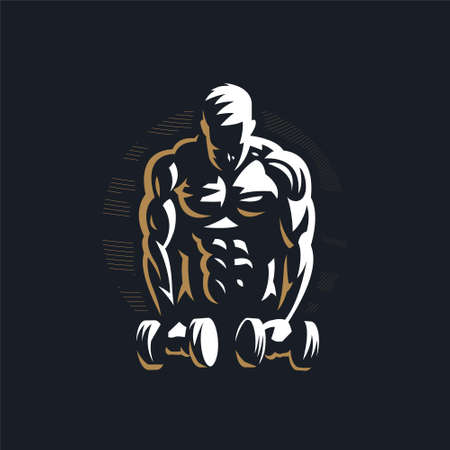 Fitness man with muscles trains with dumbbells. Vector illustration. Ilustração