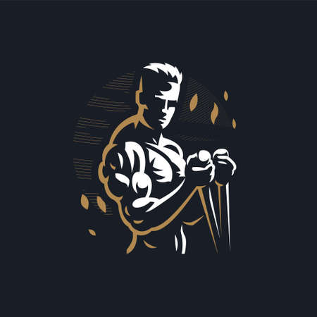Fitness man with muscles trains. Vector illustration.