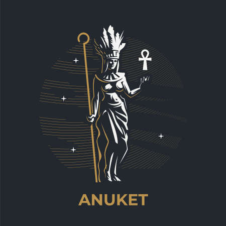 Egyptian goddess Anuket. The woman is holding a staff. On the head are ostrich feathers. Ankh. Vector illustration.