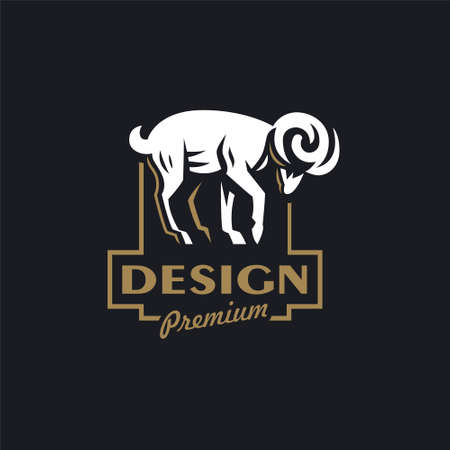 A ram or wild goat with large horns. Vector illustration. Logo