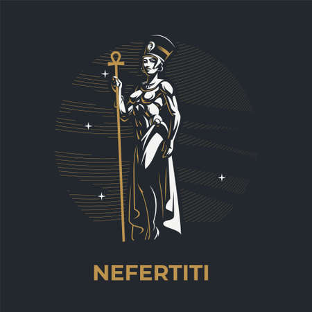 Egyptian Queen Nefertiti. Woman wearing traditional headdress with a staff in her hands. Ankh. Vector illustration. Ilustração