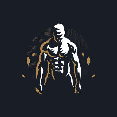 Fitness man with muscles looks down and works out. Vector illustration. Ilustração