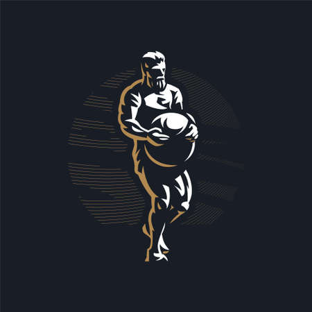 Fitness man with muscles trains. Stone ball. Atlas stone. Vector illustration. Ilustração