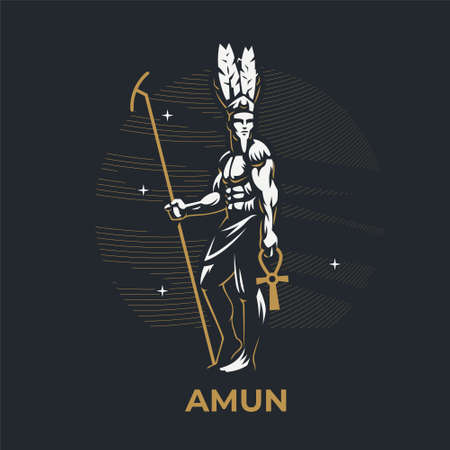 Egyptian god Amon. The man is holding a staff. On the head are ostrich feathers. Ankh. Vector illustration.